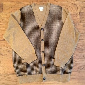 LL Bean Lamb's Wool Brown Houndstooth Cardigan